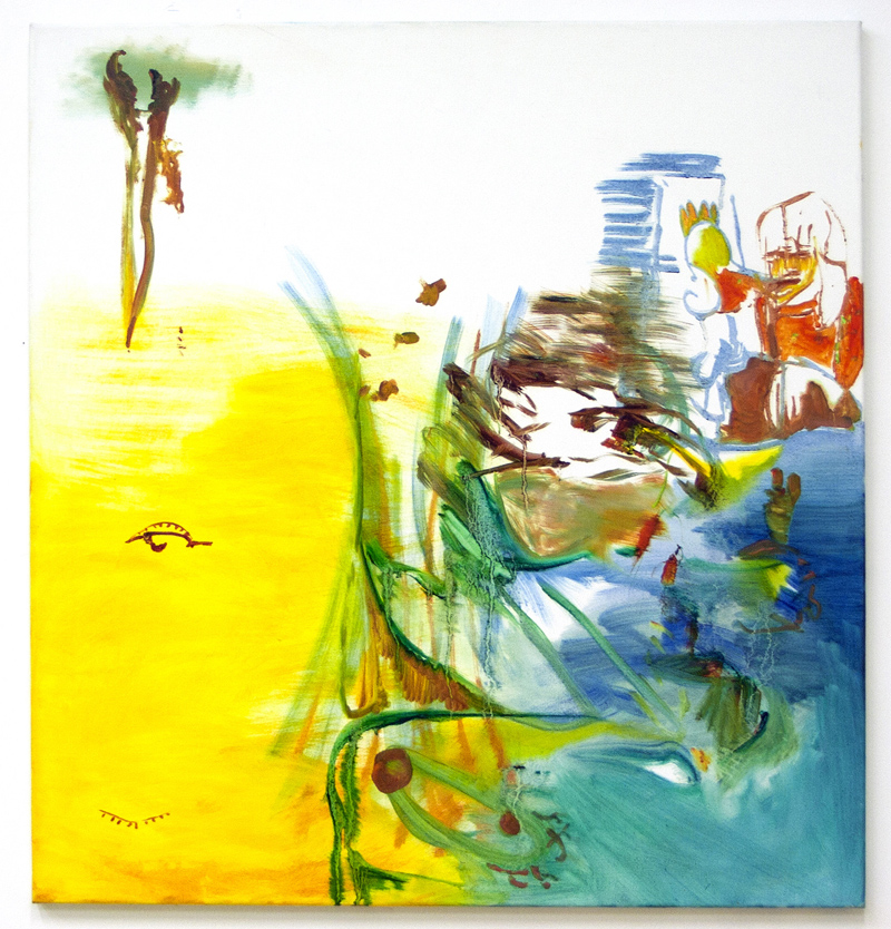 Susan's Noosa, 2014, Oil on bleached cotton, 87 x 85 cm