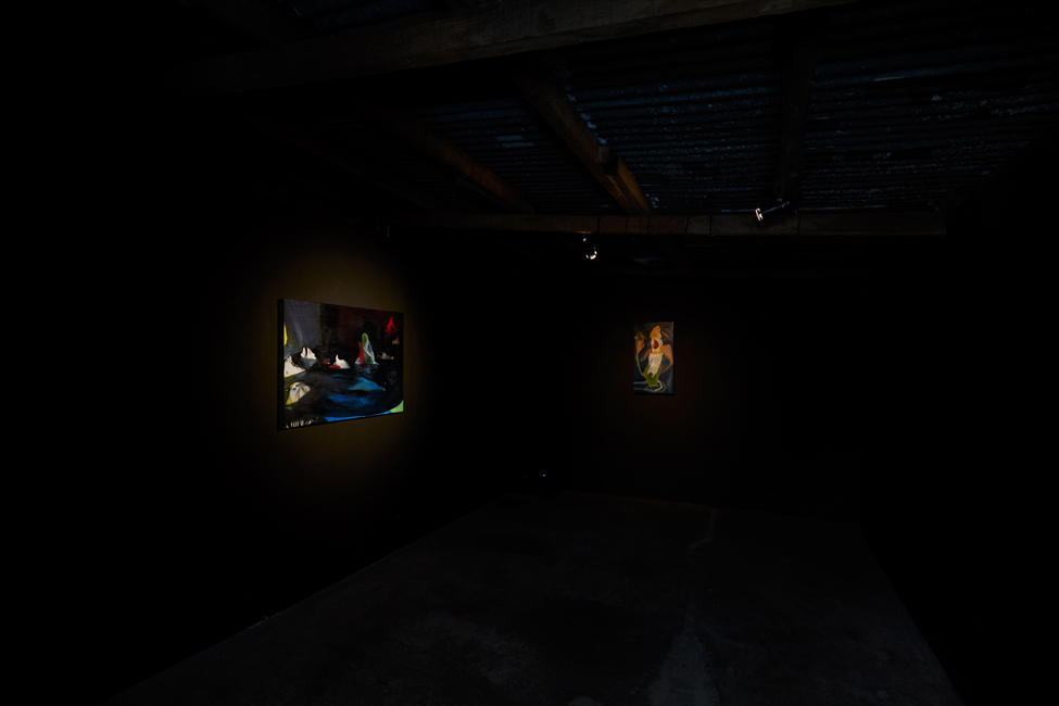 Installation view including sound pieces in the shed space